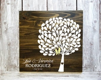 Tree Guestbook, Leaf Guestbook, Unique Guest Book, Wedding Guest Book Alternative, Wedding Guest Book, Wood Guest Book w/ 102 Leafs