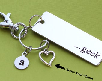 Personalized Geek Key Chain Stainless Steel Customized with Your Charm & Initial -K135