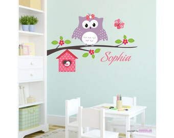 Walltattoo happy OWL with request name AST flowers aviaries Butterfly