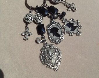 Handmade Gunmetal Black Necklace and Earring Set