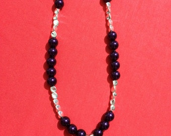 Jewelry Necklace -  Purple stone with purple bead necklace FREE SHIPPING