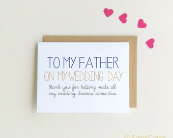 To my Father on my Wedding day | Note to Dad| Wedding Day Note | Thank You Card for Wedding Day| Thank you Dad | Wedding Cards {SKU: FC149}