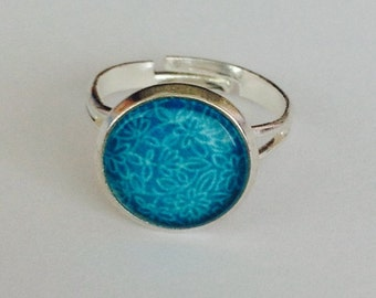 Blue flowers silver ring