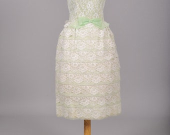 1960 Mint Green Tiered Wedding Dress
