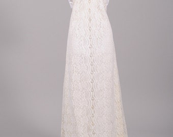 1970 Lace And Satin Vintage Wedding Gown