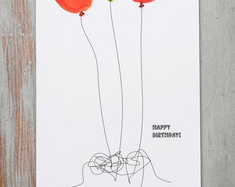 Happy Birthday colourful balloons illustration on white background greetings A6 card, red, orange, yellow original
