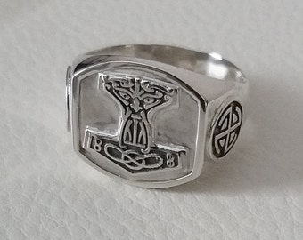Thors ring mens 925 sterling silver, mjolnir ring, hummer thor ring, norse god