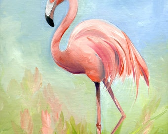 PINK FLAMINGO-  Oil Painting by Amy Hautman