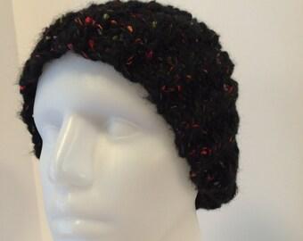Women's Knit Hat, rib knit hat, black knit hat, sparkle