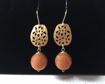 Metal Carnelian Dangle Earrings