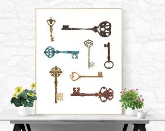 Skeleton Key Print Key Poster Skeleton Keys Wall Art Old Keys Print Antique Print Key Collage Print Desk Accessories Cubicle Decor Office