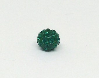 4mm Swarovski Pave Ball, Emerald and Dark Green Bead, 86001, Spacer Beads, Loose Beads, Rhinestone Beads, Shamballa Style Bead, YC6785A