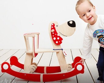 Wooden Rocking Horse DOG, Wooden Riding Toy, Kids Toy