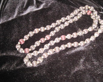 Vintage black silk bead necklace