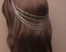 Vintage silver cascaiding hair chains on grips. Wedding, Pageant, Prom, Festivals , Boho hair, Vintage Hair, Hair decoration, Hair Chains