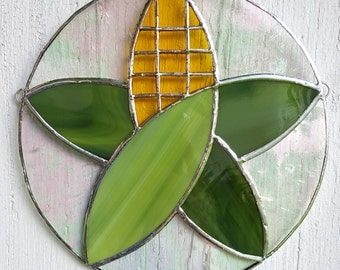 Stained Glass Corn Art Star Farm Rural Vegetable Suncatcher