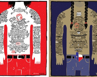 """The White Stripes & Willie Nelson """"DUET"""" Posters by NEANOD WORKPRINTS"""
