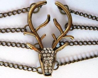 Golden Stag Diamante Bracelet Steampunk Game of Thrones