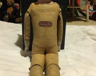 Antique German Bisque Doll Leather Body Glass Sleep Eyes