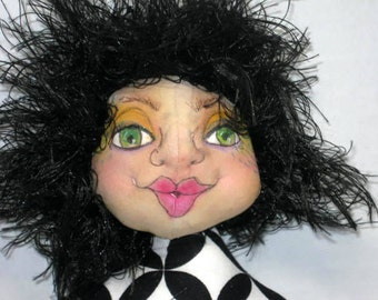 Fantasy Cloth Art Doll, Black White Fairy Sprite Soft Sculpture, Textile Interior Art Doll, JDCreativeDolls
