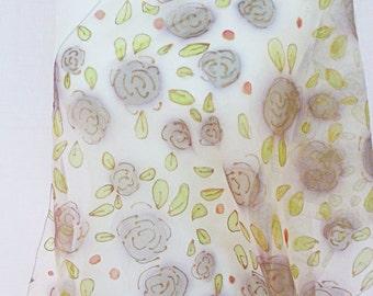 handpainted Silk Scarf,Silk Scarf brown hand painted  ,  hand painted silk scarf   ,silk scarf gold , silkscarvesparis