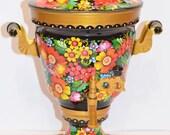 Ukrainian Samovar Hand Painted Electric Metal Tea Pot Working