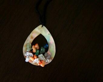 Handmade Artisan Mother of Pearl Crystals Shipibo Macrame Tribal Boho Peruvian Necklace