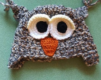 Crochet Owl Hat 0-3 months