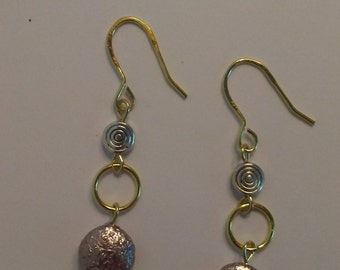 Silvery Coin Pearl Gold Earrings