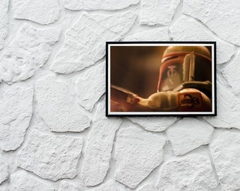 Boba Fett Fine Art Print Baryt Paper Size: A3 Mandalorian Warrior Star Wars Fanart Macro Photography Action Figure Lovers Nerd Gift