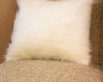 Off-White Grizzly Fur Throw Pillow Cover