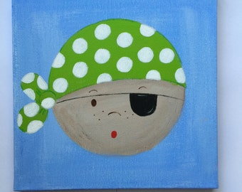 Pirate canvas painting available in lime green, dark blue and red. Brighten up any kids bedroom or playroom.