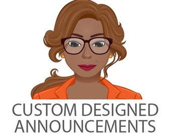 Custom Designed Birth or Graduation Announcement-Digital or Print