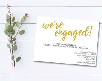 Printable Engagement Party Invitation, We're Engaged, Printable Engagement Invite, Gold Engagement Invite, Simple Engagement Invitation