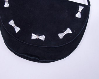 coolest vintage black suede leather purse + clutch vintage purse
