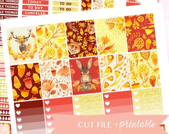 Printable Planner Stickers, AUTUMN, FALL Planner Stickers, Fall Planner Kit, Silhouette Cutfile, Glitter, Fall Wreath, Sticker Printable