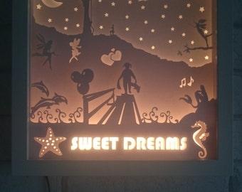 Girls - Shadow Box / Night Light - Handmade
