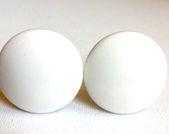 Antique White Porcelain Cabinet Drawer Door Knobs Pulls, Set of 2, Vintage Cabinet Drawer Door Knob Pull, Home Improvement