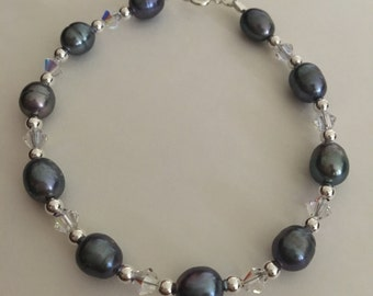 Hand Made Dyed Black Pearl Bracelet,Sterling Silver Bracelet Beaded with Fresh Water Pearl and Crystal Glass, Ready to Ship, FREE SHIPPING