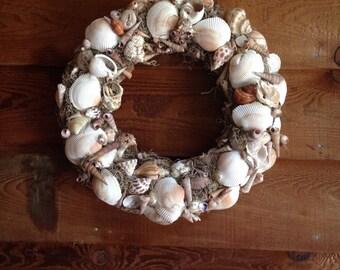 Natural Seashell Wreath, Tan and White Seashell Wreath