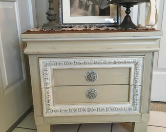 Glamorous shabby chic end table, nightstand or  bedside table with 2 drawers.