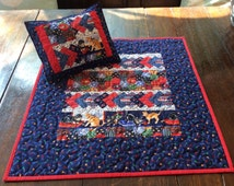 Hand made Cat Panel Patchwork Dolly Quilt and Pillow.Small Quilt. Pillow. Dolls.Dolls Bedding.Christmas Gift.Blue Quilt.