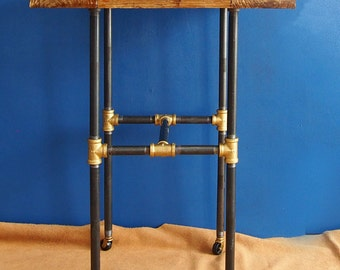 Industrial Style Distressed Wood and Pipe End Table