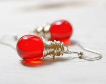 Red Drop Earrings, Red Bead Earrings, Silver and Red Wire Wrap Earrings, Casual Jewelry, Everyday Earrings, Lipstick, Cherry, Primary Red