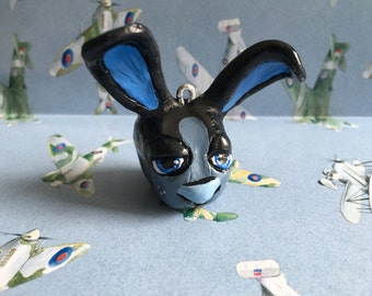 Blue and Black Rabbit Keyring.