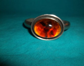 Amber and Silver Bracelet