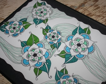 Blue & Green Flower Design w/ Wavy Black Border