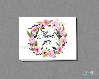 Printable Thank You Card, Floral Bridal Shower Thank You Card - Printable Bridal Shower Thank You Card - Garden Bridal Shower Thank You Card