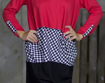 Red Dandelion Houndstooth Tunic | Back Zip Tunic | Leather Lining Crew Neck Tunic | Long Sleeve Tunic | Smart Casual Tunic by Silvia Monetti
