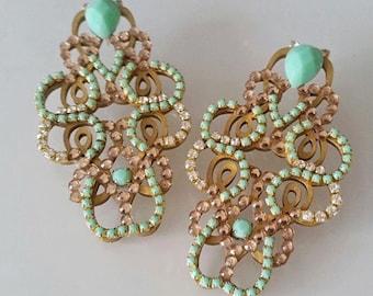 Earrings INNOVA  Gold & Mint